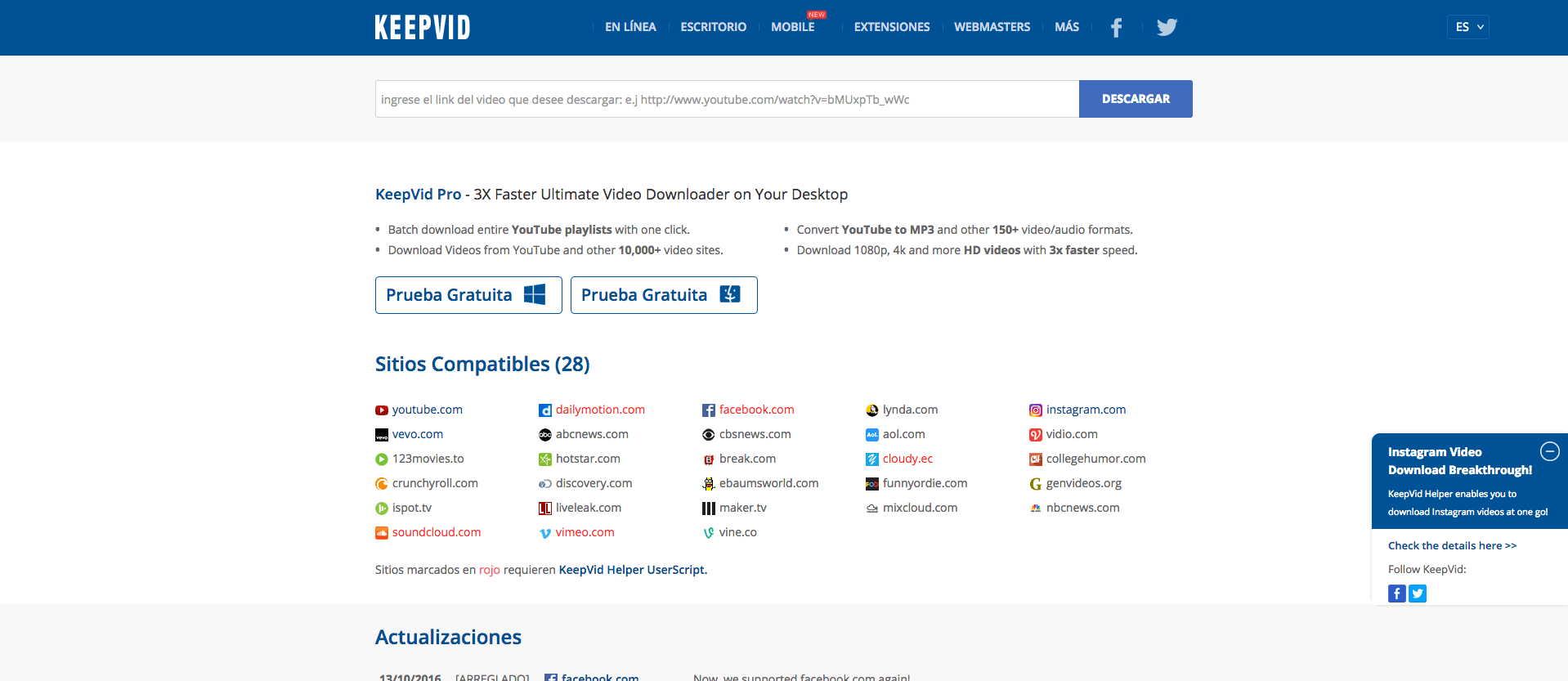 KeepVid plataforma de descarga de videos y musica