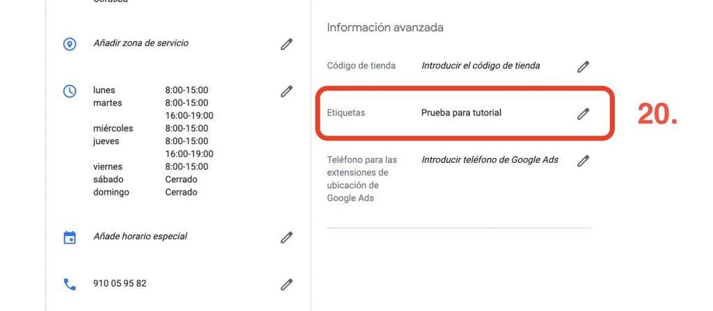 etiquetas de google my business