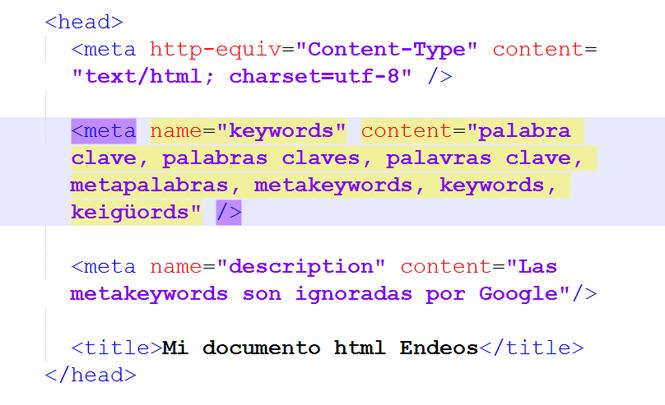ejemplo de meta keyword